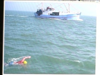 Pastor Mike Solberg swimming the English Channel.