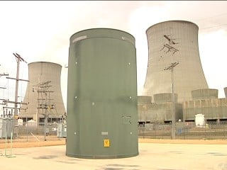Dry cask storage tank for nuclear waste.