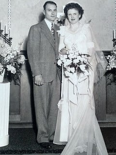 LaVerne and Ramona Selquist on their wedding day, 71 years ago