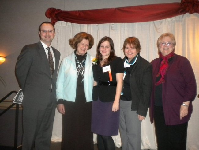 Mayor Lawrence Morrissey, Elise Cadigan -  Rotary representative and mentor, Hannah Warren - Jhoole founder, Lisa Warren - Hannah's mother, Elaine Hirschenberger - Executive Director, Womanspace, who wrote nomination