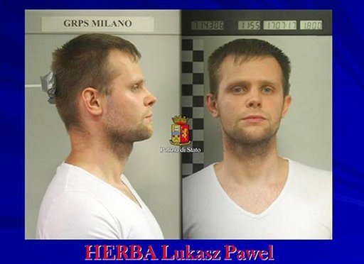 (Italian Police Photo via AP). Photo released by police of a man identified as identified as Lukasz Pawel Herba, a Polish citizen with British residency, who has been arrested in the alleged kidnapping of a young British model