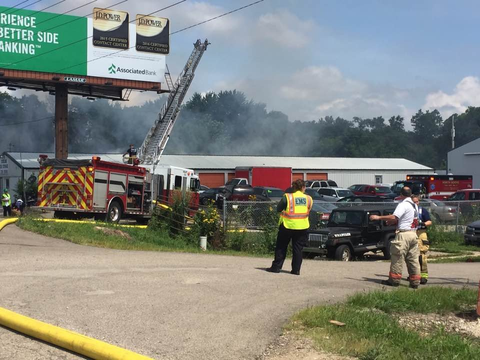 Commercial building fire off Rt. 251 in Roscoe