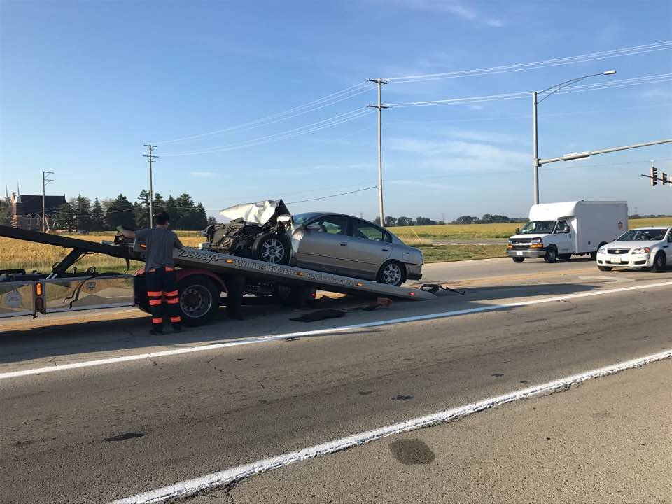 Vehicle being towed following a multi-car crash Friday morning