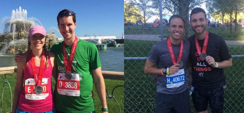 Alex Kirchner & Elliot Grandia, along with their running partners, following the marathon