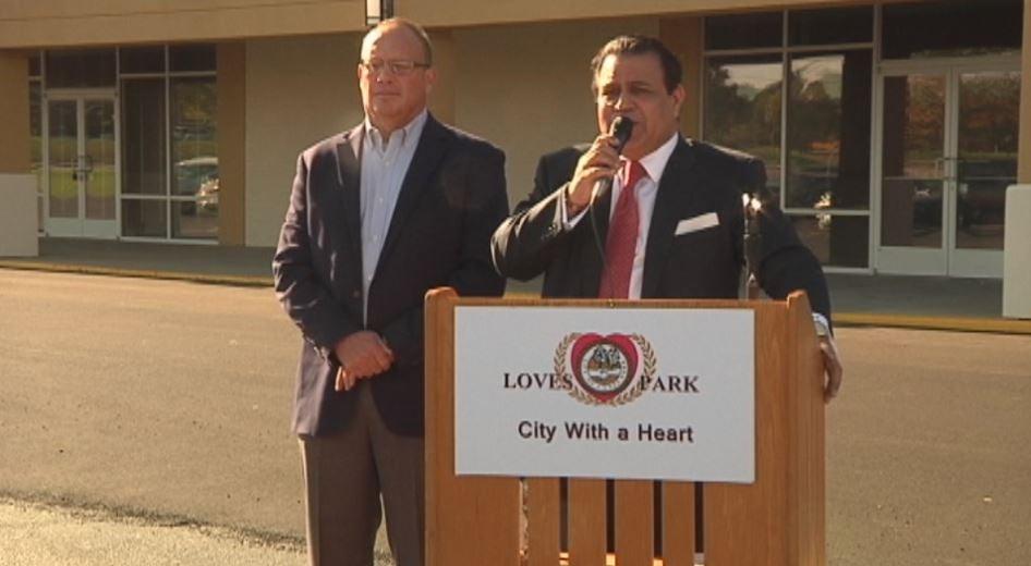 Loves Park Mayor Greg Jury (left), Sunil Puri