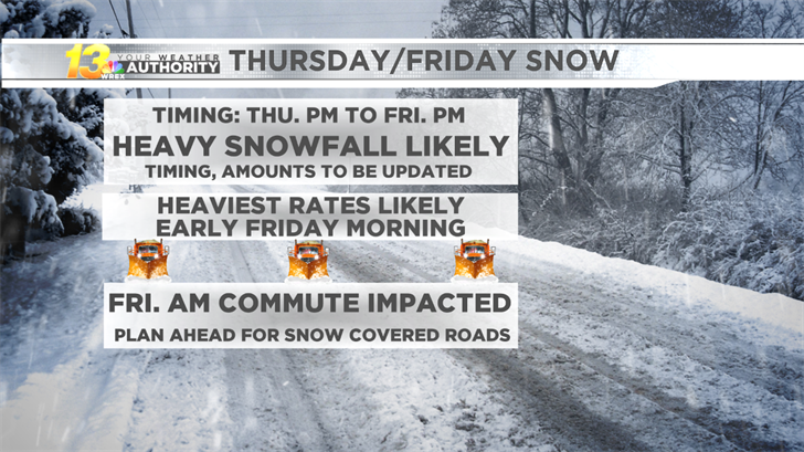 First potential major winter storm of the season coming Thursday evening