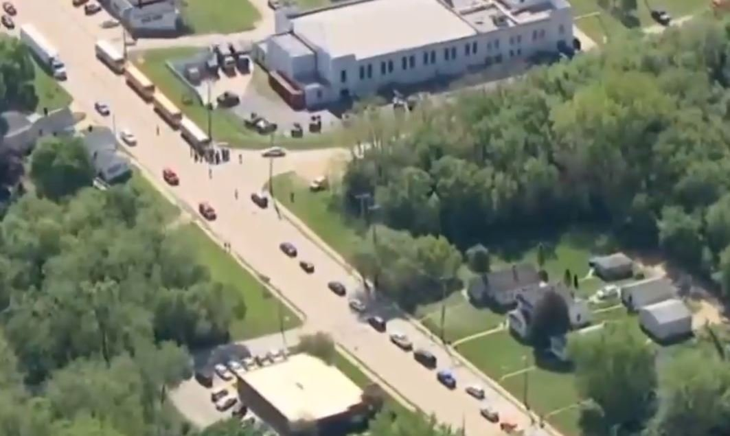 Ariel view of the scene of the school shooting.