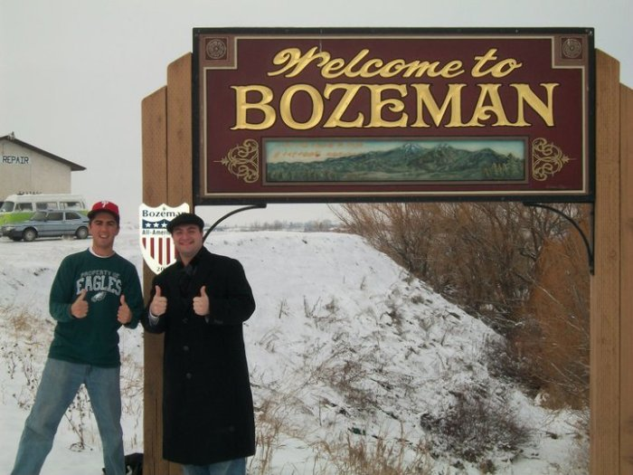 A.J. with his friend Landon in Bozeman, MT