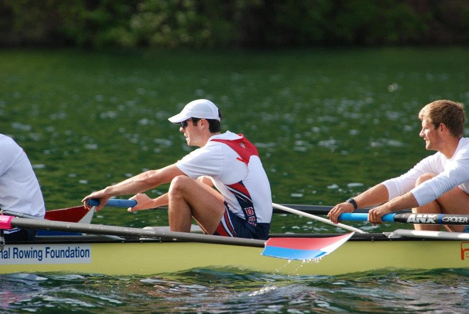 Ross James (with hat) rowing in Lucerne, Switzerland.