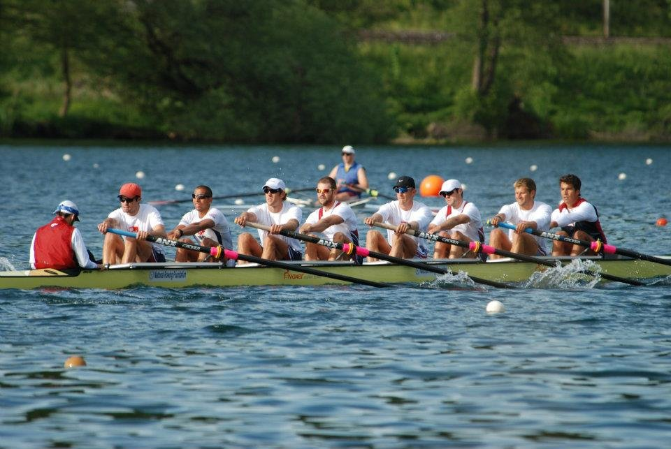 U.S. Men's Eight rowing in Lucerne, Switzerland.