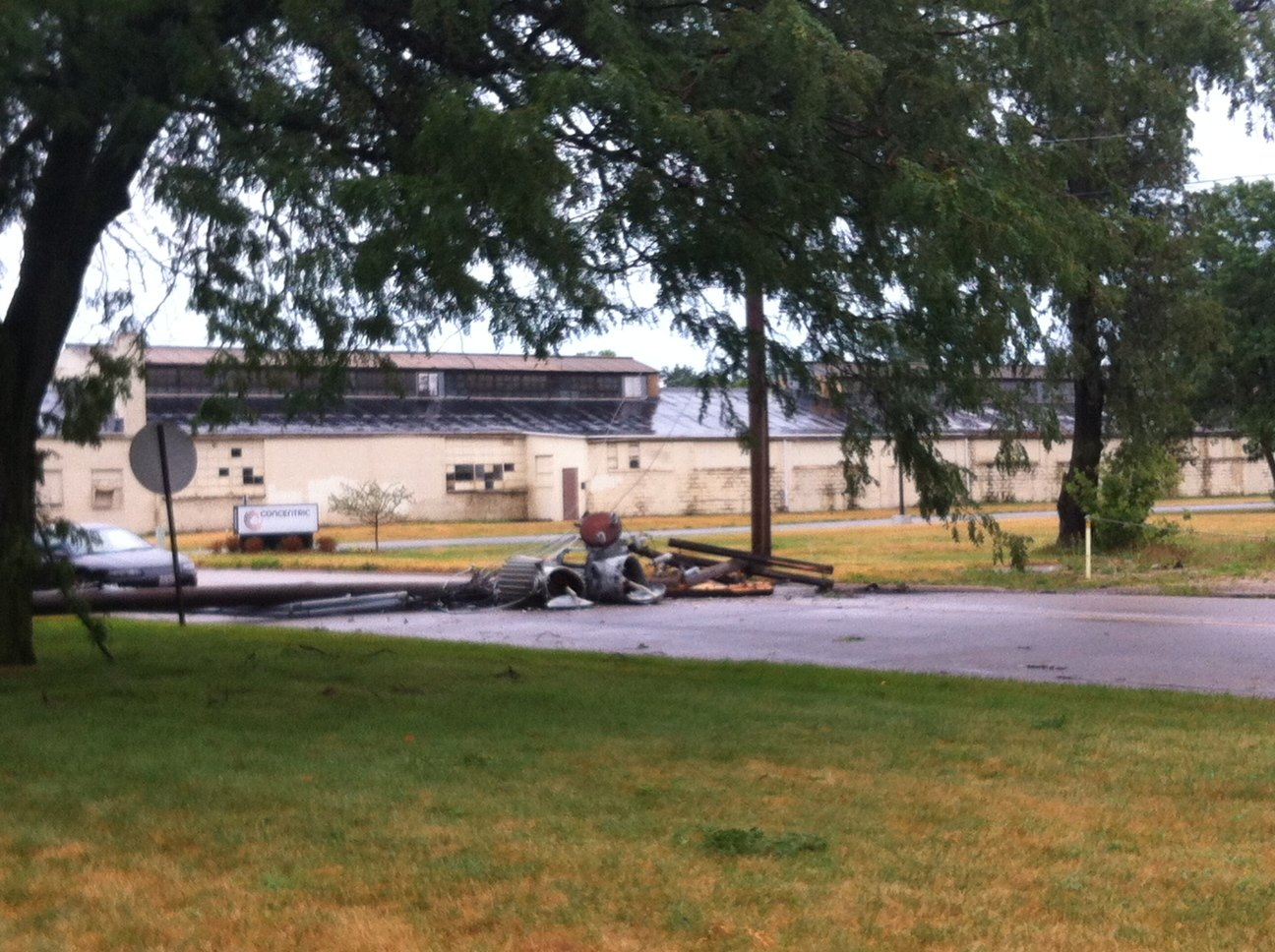 Transformer down in front of Olson Aluminum Castings - Photo Courtesy: Jessica Boswell