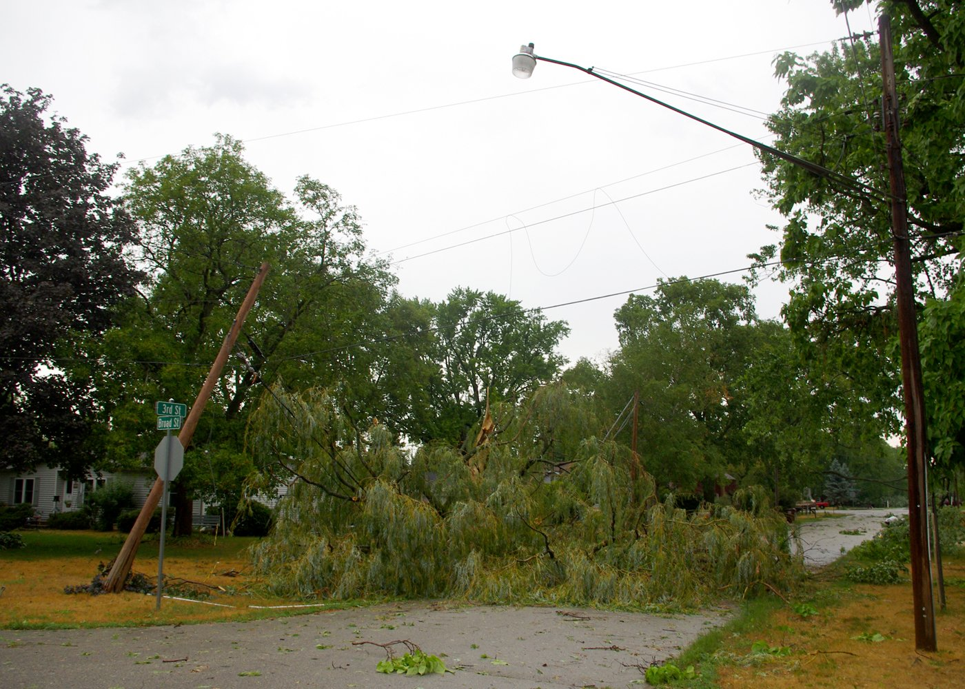 A large tree was snapped off and took down electrical lines at the intersection of Third and Broad St. in Roscoe. Photo Courtesy: Harlem-Roscoe Fire Photographer Sheryl Drost