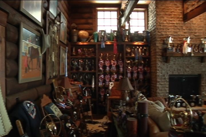 Crundwell's trophy room inside a barn.