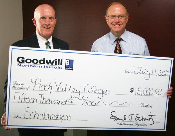 Goodwill President Samuel Schmitz and Rock Valley College President Jack Becherer