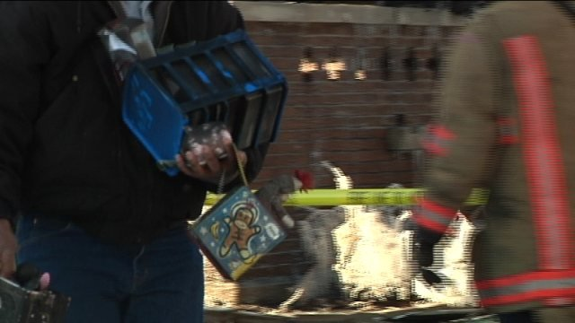 Fire crew carrying out toy that survived blaze.