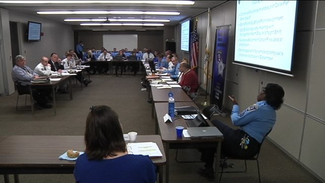 CompStat meeting on crime statistics in Rockford.