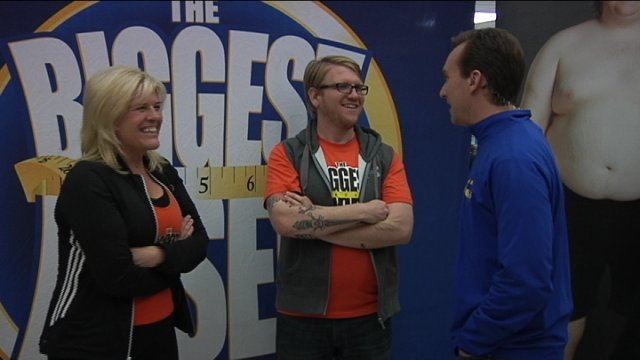 13News Anchor Eric Wilson talks with Biggest Loser contestants Dan and Jackie Evans at the registration kickoff for the Biggest Loser Run/Walk in Rockford