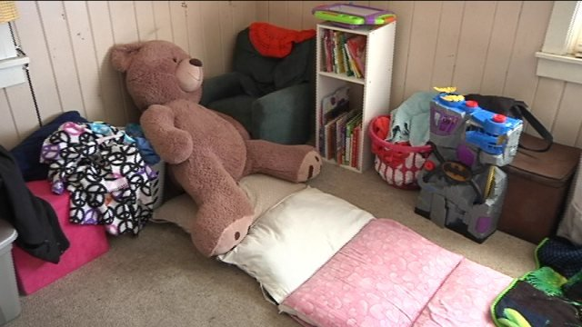 Pillows sewn together to make Winkler's 12-year-old daughter's bed.