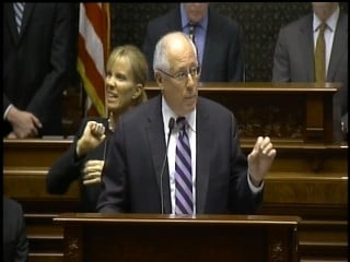 Gov. Pat Quinn gives his budget address to Illinois lawmakers.