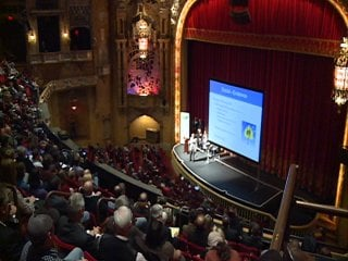 People pack the balcony of the Coronado PAC for the first Transform Rockford forum