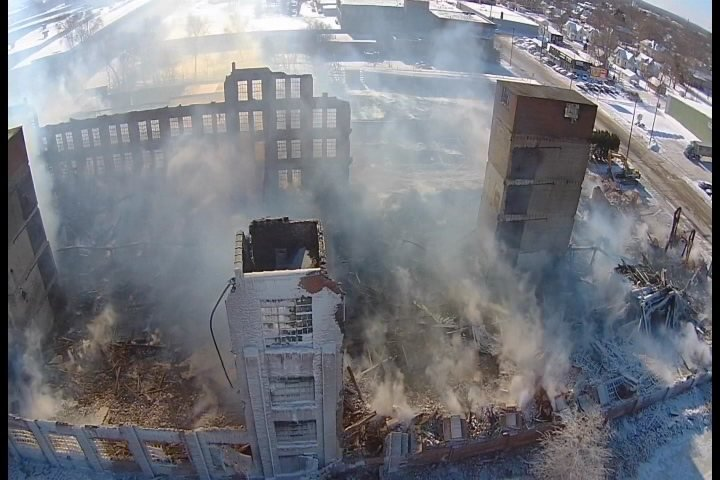 Drone video over warehouse fire