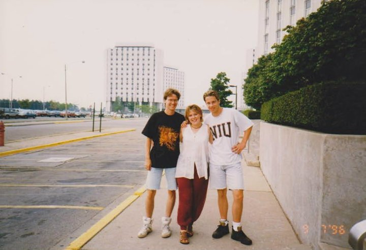 Eric with his good friends Becky and Brian back in the NIU days. Check out that hair!