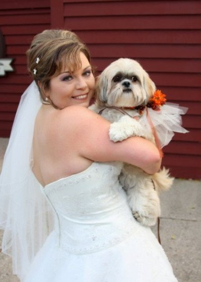 "Wedding day... with my dog ""Carrie"""
