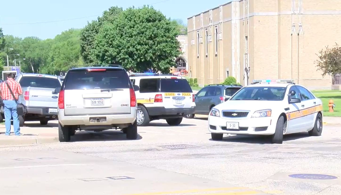 Authorities at the high school Wednesday morning.